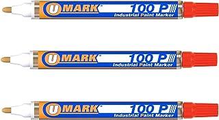 3 Pack - Orange Valve Action Metal Paint Marker U-Mark, Made in USA