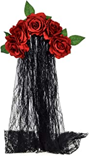 June Bloomy Day of the Dead Headpiece Rose Floral Crown Veil Halloween Costume Mexican Headband (Burgundy)