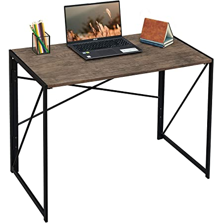 """Coavas Folding Desk No Assembly Required, 40"""" Writing Computer Desk Space Saving Foldable Table Simple Home Office Desk,Brown"""