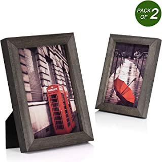 Emfogo 5x7 Picture Frames Photo Display for Tabletop or Wall Mount Solid Wood High Definition Glass Photo Frame Pack of 2 Weathered Grey