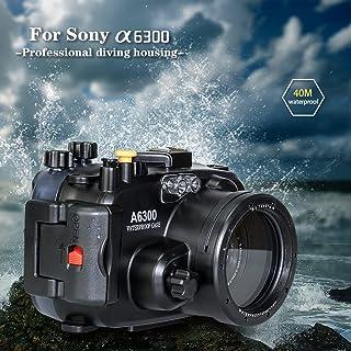 Arandelas de mar para cámara submarina Sony A6300 A6400 Sumergible (Carcasa + Filtro Rojo)