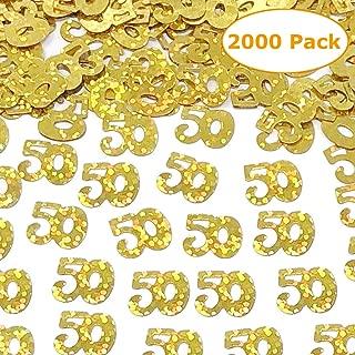 2000 Pieces Gold 50th Birthday Confetti 50 Number Confetti 50th Party Confetti for Party Supplies 2.46 OZ 50th Birthday and Anniversary Confetti