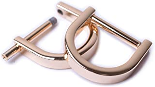 Bobeey 4pcs 5/8'' Light Gold U Shape Horseshoe D-Rings,Screw in Shackle D Ring for Buckle,Belt Clasps,DIY Leather Craft Ac...