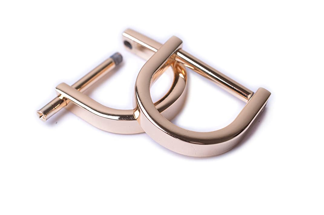 Bobeey 4pcs 5/8'' Light Gold U Shape Horseshoe D-Rings,Screw In Shackle D Ring For Buckle,Belt Clasps,DIY Leather Craft Accessories,Purse Findings BBC13 (5/8'', Light Gold)