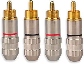 HTTX RCA Male Plug Adapter, RCA Repair Ends, Audio Phono Gold Plated Solder Connector for Speaker Wire (4-Pack)