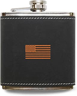 MODERN GOODS SHOP American Flag Flask - Stainless Steel Body With Grey Leather Cover - 6 Oz Leather Hip Flask - Made In USA