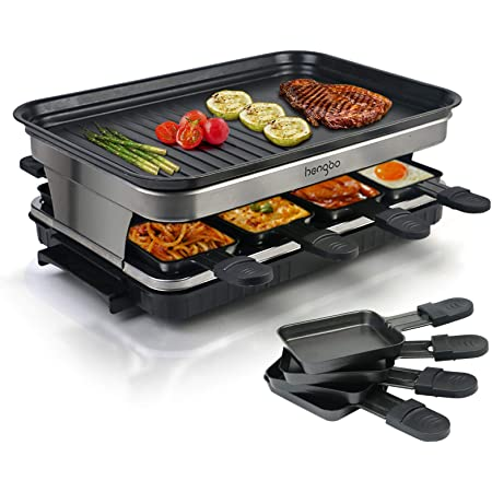 Appareil a Raclette 8 Personne, Service a Raclette avec Revêtement Anti-Adhésif Plaque de Cuisson, 8 Poêlons Antiadhésifs - 1500W