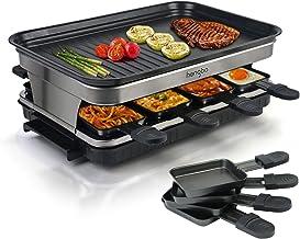 Appareil a Raclette 8 Personne, Service a Raclette avec Revêtement Anti-Adhésif Plaque de Cuisson, 8 Poêlons Antiadhésifs...