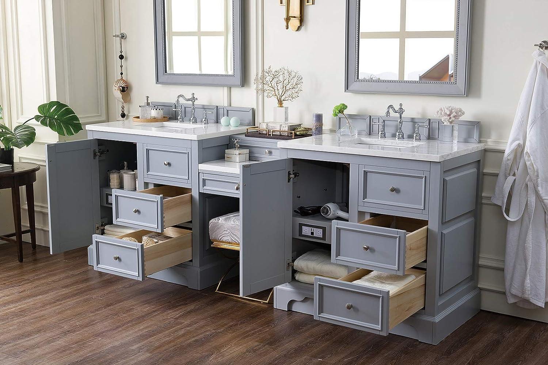 Amazon Com De Soto 94 Double Vanity Set Silver Gray With Makeup Table 3 Cm Classic White Quartz Top Home Improvement
