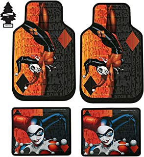 Yupbizauto Set of 4 DC Comic Harley Quinn Auto Truck SUV Car Floor Mats with Air Freshener