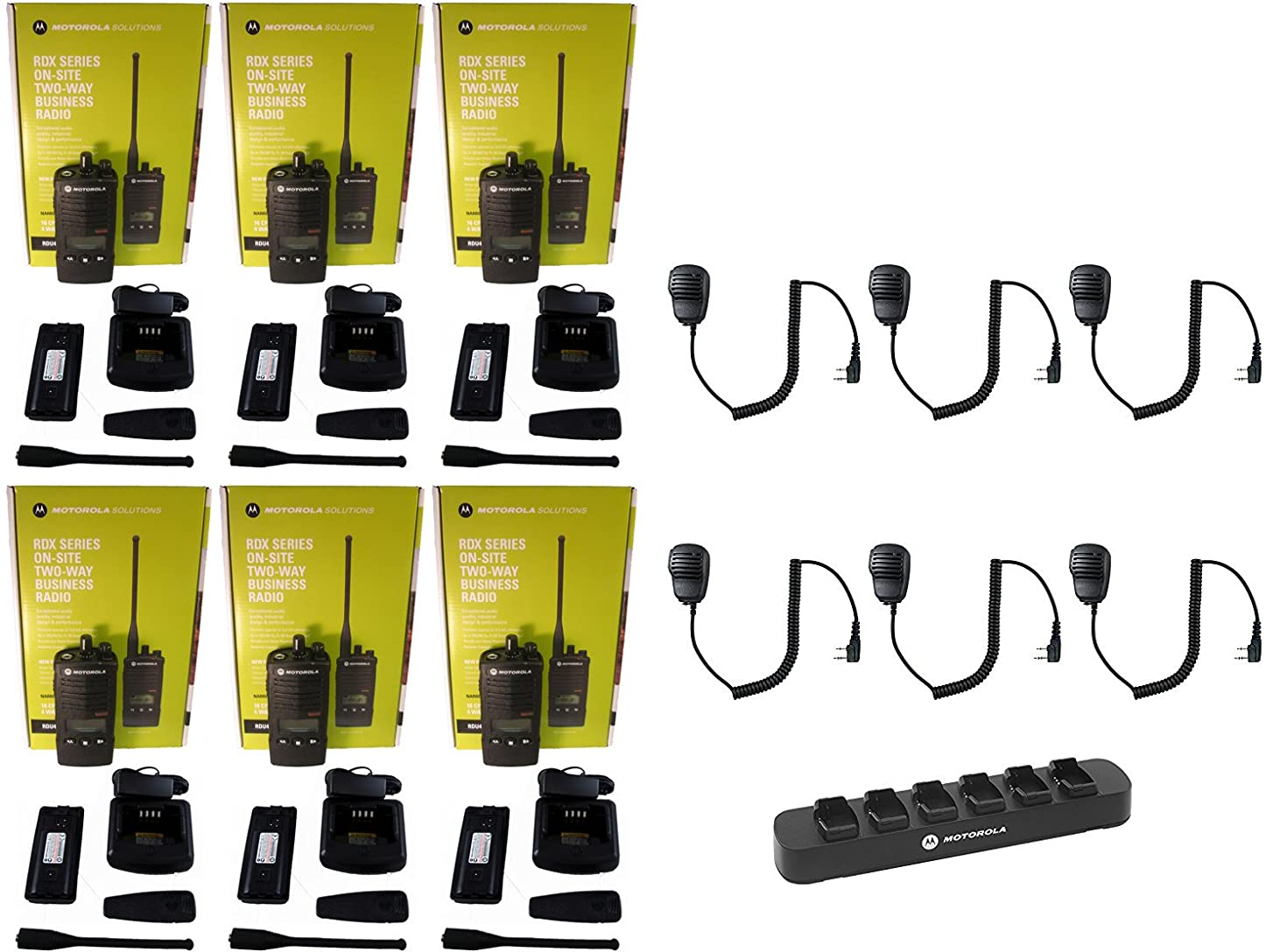 QTY 6 Motorola RDU4160D UHF 4 watt 16 channel radio and QTY 6 Speaker Microphone and QTY 1 Motorola RLN6309 Multi-Unit Gang Charger
