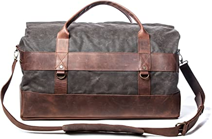 Stylish Handmade Weekend Bag - Waxed Canvas   High Quality Leather Shoulder  Strap - Holdall Travel 366ce33ba3818