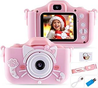 Seamuing Kindercamera, digitale kindercamera 1080p 20MP 2,0 inch oplaadbare HD-camera met twee lenzen, 32 GB SD-kaart en f...