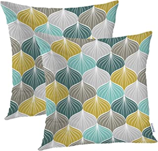 Batmerry Geometric Pillow Covers 18x18 Inch Set of 2, Mustard Yellow and Green Retro Pattern Double Sided Decorative Pillows Cases Throw Pillows Covers