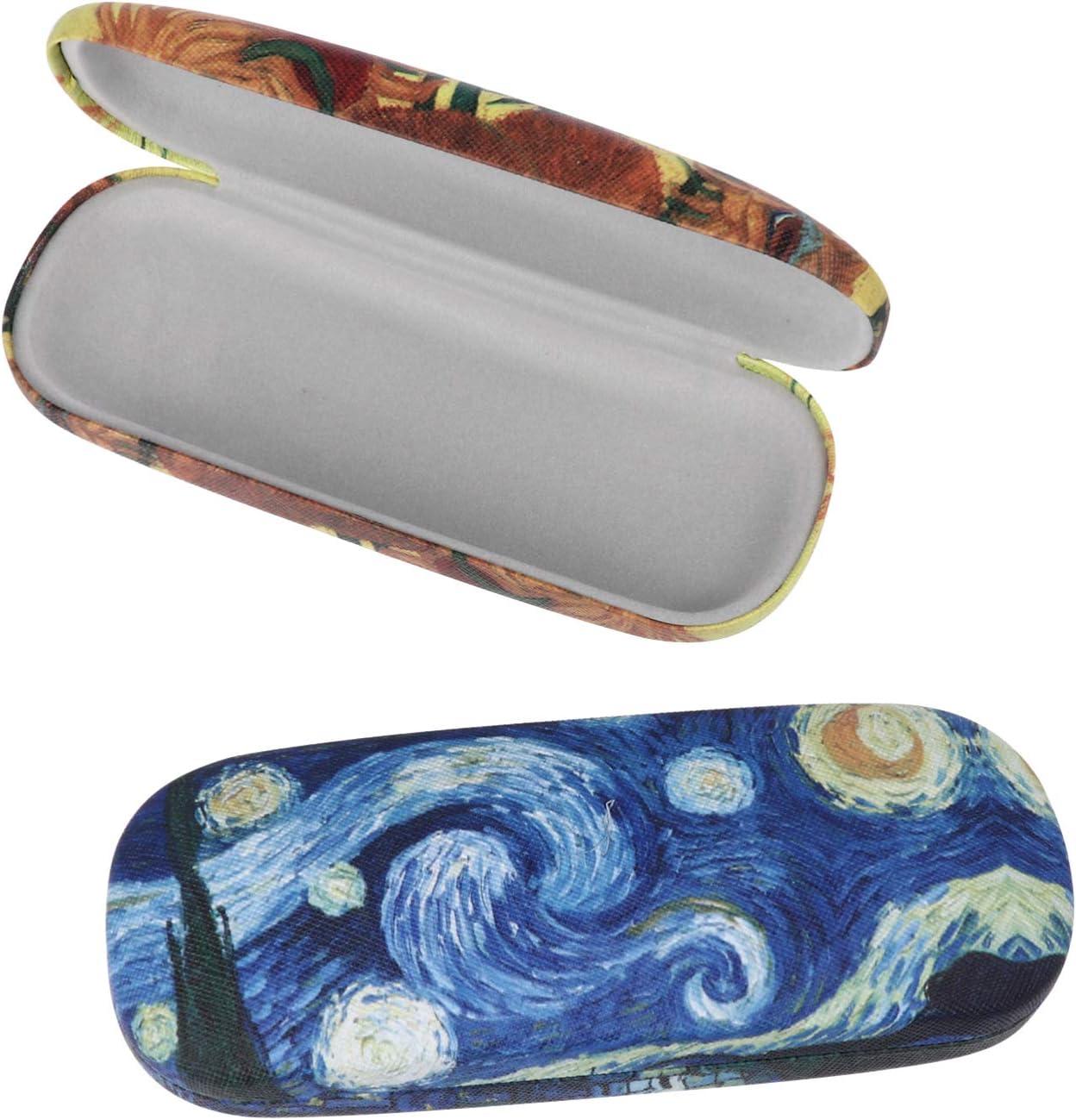 HEALLILY 2Pcs Hard Shell Eyeglasses Case Oil Painting Leather Sunglasses Glasses Holder Box for Women Men Students