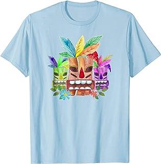 3dRose Macdonald Creative Studios Hawaii Hawaiian Pattern of Tiki Statues and Honu Turtles in Blue and Pink - T-Shirts