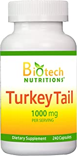 Biotech Nutritions Turkey Tail Mushroom 1000 Mgper Serving 240 Vegetable Capsules Non GMO