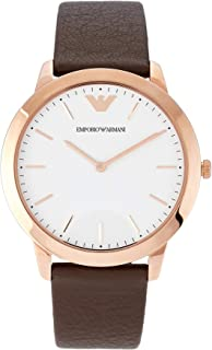 Emporio armani Men's White Dial Leather Band Watch - aR2487