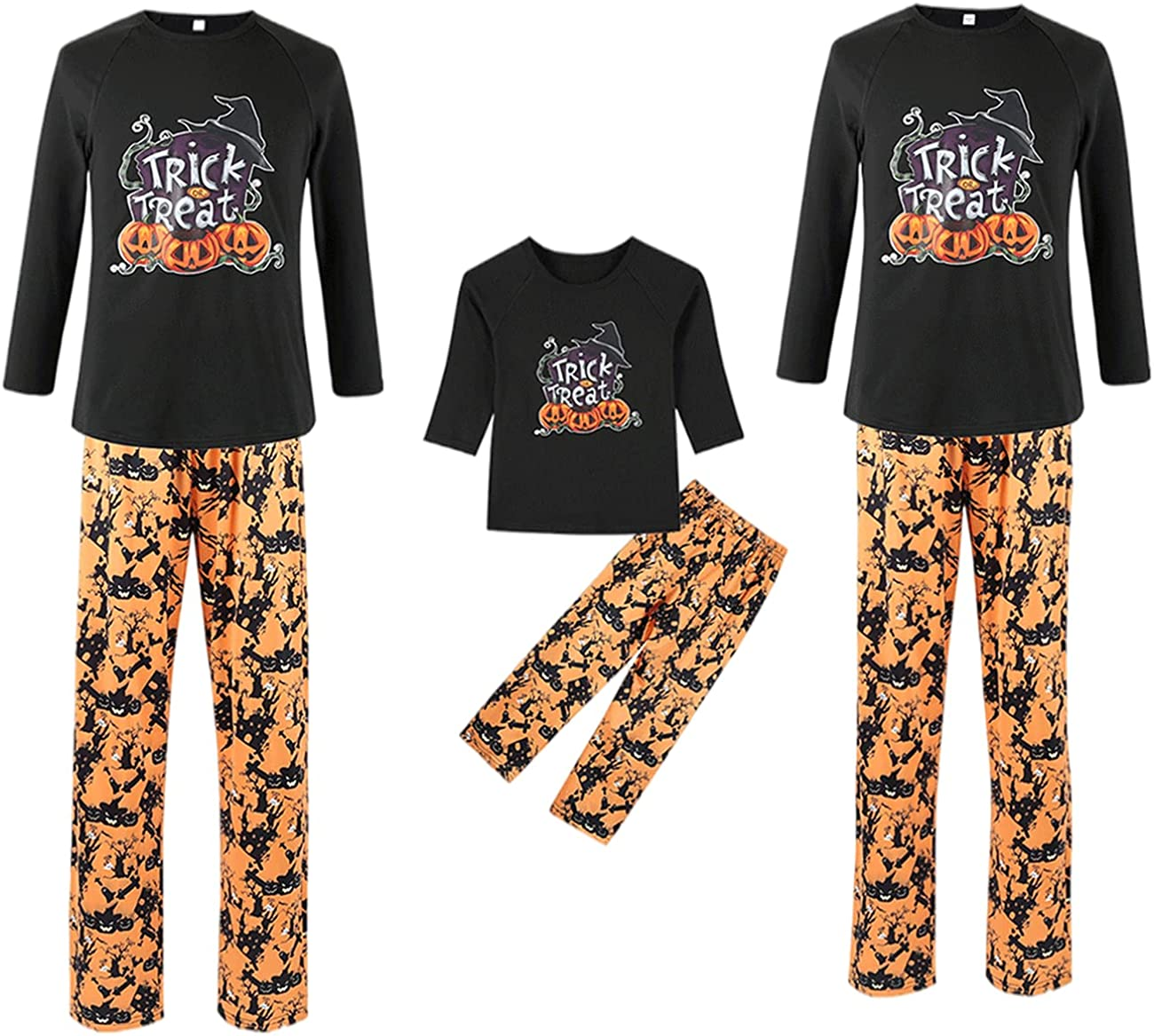 BZSFW Matching Family Pajamas Sets Halloween PJ's Letter Print Top and Festival Style Pants Sleepwear