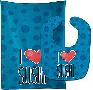 Caroline's Treasures I Love Sushi Baby Bib & Burp Cloth, Multicolor, Large