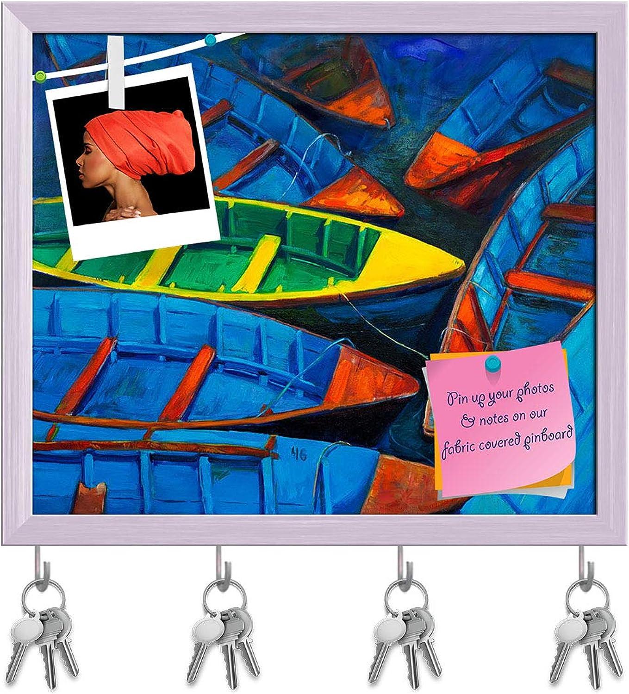 Artzfolio Artwork of Boats & Jetty D9 Key Holder Hooks   Notice Pin Board   White Frame 18.5 X 16Inch