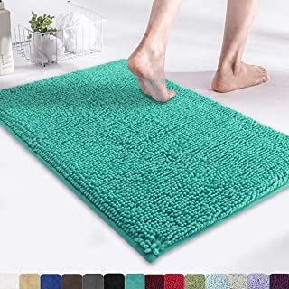 MAYSHINE Non-Slip Bathroom Rug Shag Shower Mat (17x24 Inches) Machine Washable Bath Mats with Water Absorbent Soft Microfibers of Turquoise