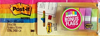 Post-it Notes, Original Pad, 3 Inches x 3 Inches, Assorted Neon Colors, Value Pack, 24 Pads per Pack (Total 2400) with Bon...