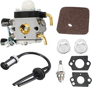 Poweka Vergaser + Zündkerze + Luftfilter + Pumpe Boot + Kit Zeile von Kraftstoff für Rasentrimmer Stihl FS38FS45fs45C fs45l FS46FS46C Pour fs55C fs55r fs55rc KM55HL45ersetzt c1q s186