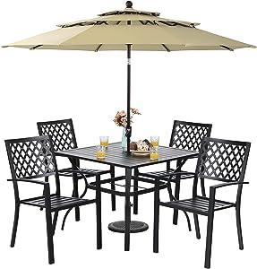 Sophia & William Patio Dining Set with 10ft 3 Tier Auto-tilt Umbrella, Outdoor Table Furniture Set - 4 x Metal Outdoor Chairs, 1 x Metal Square Dining Table and 1 Beige Patio Umbrella