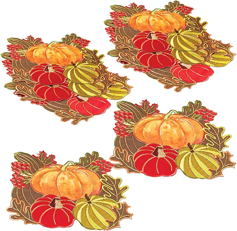Embroidered Autumn Pumpkin Table Linens Features Colorful Pumpkins Leaves And Berries Accented With Sparkling Gold Stitching