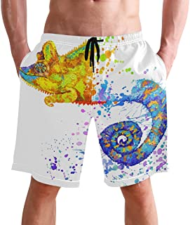 Beach Shorts, Chameleon Animal Printed Mens Trunks Swim Short Quick Dry with Pockets for Summer Surfing Boardshorts Outdoo...