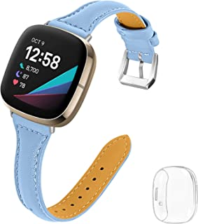 Joyozy Thin Leather Bands with Clear Screen Protector Case Compatible with Fitbit Sense/Fitbit Versa 3,Professional Classi...