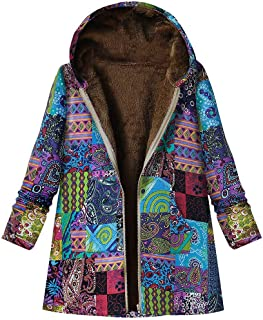 Warm Printed Pockets Coat, QIQIU Womens Hooded Thicker Zipper Winter Vintage Loose Plush Plus Size Outwear