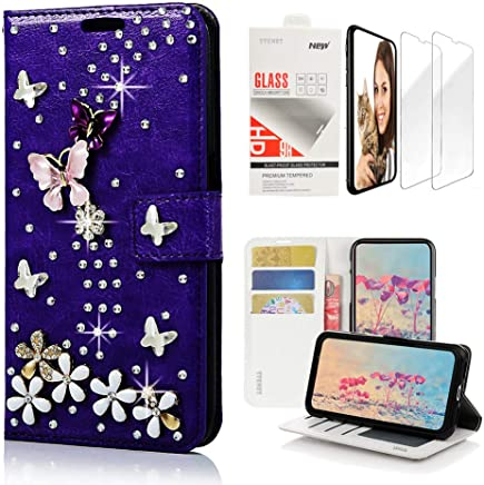 STENES Bling Wallet Case Compatible with Samsung Galaxy Note 8 - Stylish - 3D Handmade S-Link Butterfly Floral Design Leather Case with Wrist Strap & Screen Protector [2 Pack] - Purple