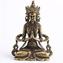 Retro Brass Meditate Zen Buddhism Household Buddha Ornament Living Room Handmade Decoration Copper Statue Tea House Ornament