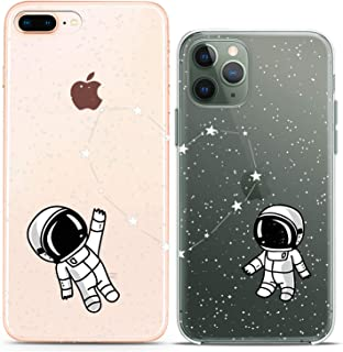 Cavka TPU Matching Couple Cases for Apple iPhone 11 Pro Xs Max X Xr 8 Plus 7 6s SE 5s Astronaut Space Constellation Silicone Cover Clear Girlfriend Anniversary Flexible Women Cute Print Mate Lovely