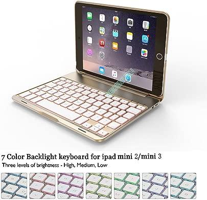 Becemuru Schutzh lle f r iPad Mini2 iPad Mini3 7-farbige Hintergrundbeleuchtung kabellose Bluetooth-Tastatur Folio-Schutzh lle f r 7 9 Zoll iPad Mini2 iPad Mini3 Schätzpreis : 41,97 €