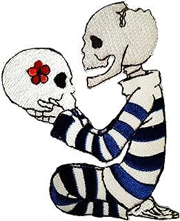 calavera Biker esqueleto - Parches termoadhesivos bordados aplique para ropa, tamaño: 8 x 10,2 cm