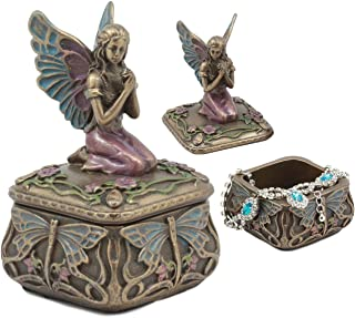 Ebros Decorative Art Nouveau Mythical Dragonfly Whisperer Fairy Fae Secret Jewelry Box Magic Wishing Fairy Collectible Jewelry Trinket Box Figurine For Desktop Decor