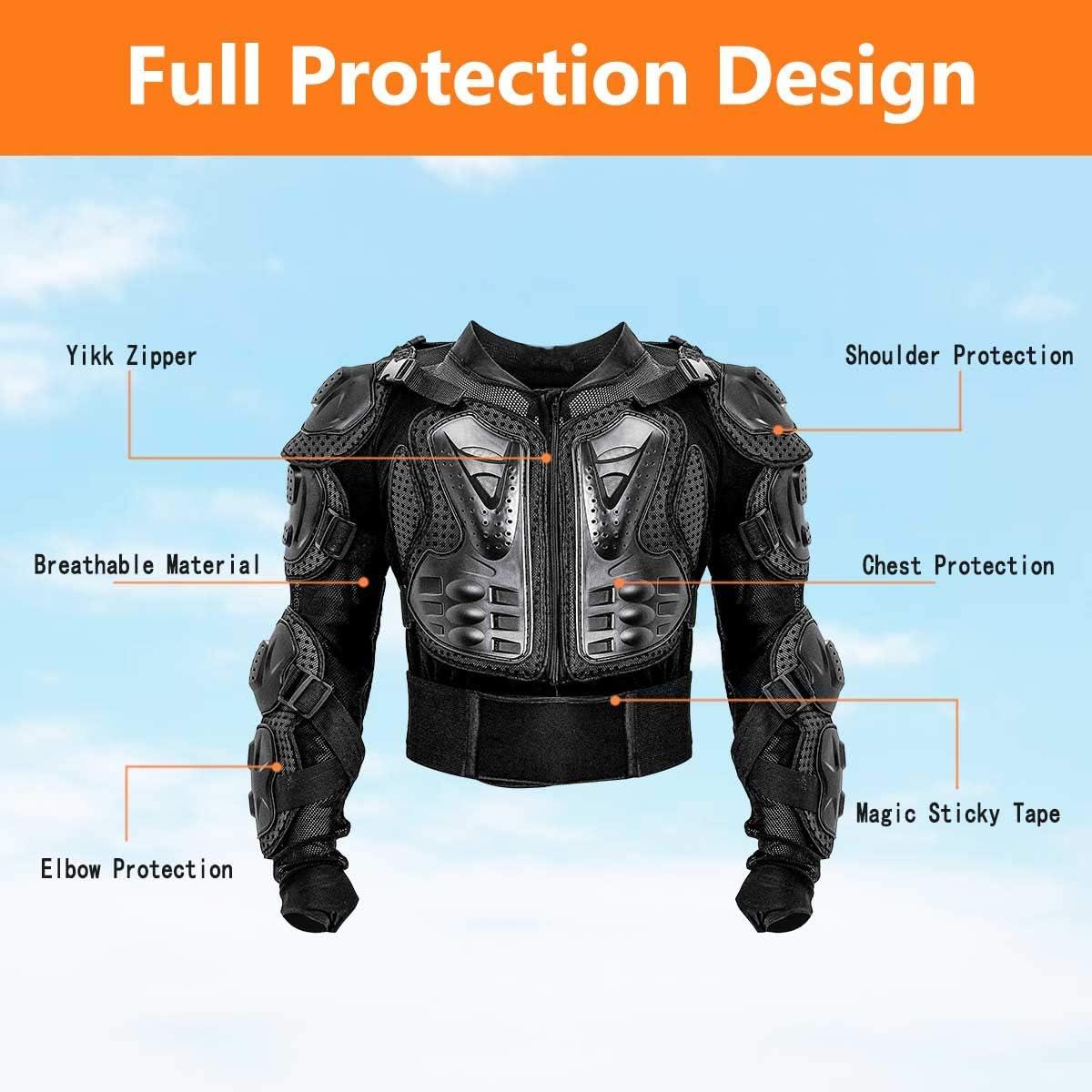 Motorrad Schutz Jacke Pro Motocross ATV Protektoren Full Body Armor jacke Guard Shirt mit R/ückenprotektor Scooter MTB Enduro f/ür Damen und Herren