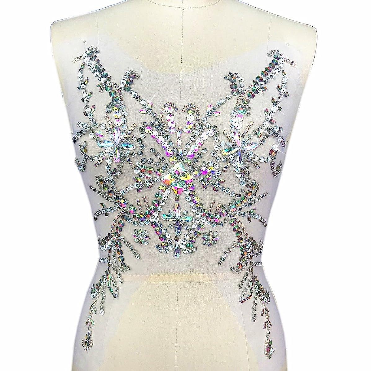 Exquisite Embroidery Beaded Sequin Sew on Rhinestones Applique Manual Collar Waist Costume Fine Motif Wedding Dress Trimming 28x49cm