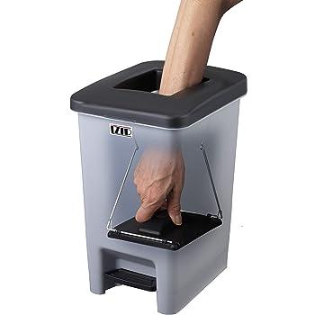 富士商 ゴミ箱 ペダル式 圧縮ハンドル フタ付き ブラック×グレー 21.3×27.5×35.5cm ( ゴミを1/3に圧縮する ダストボックス ) F20144