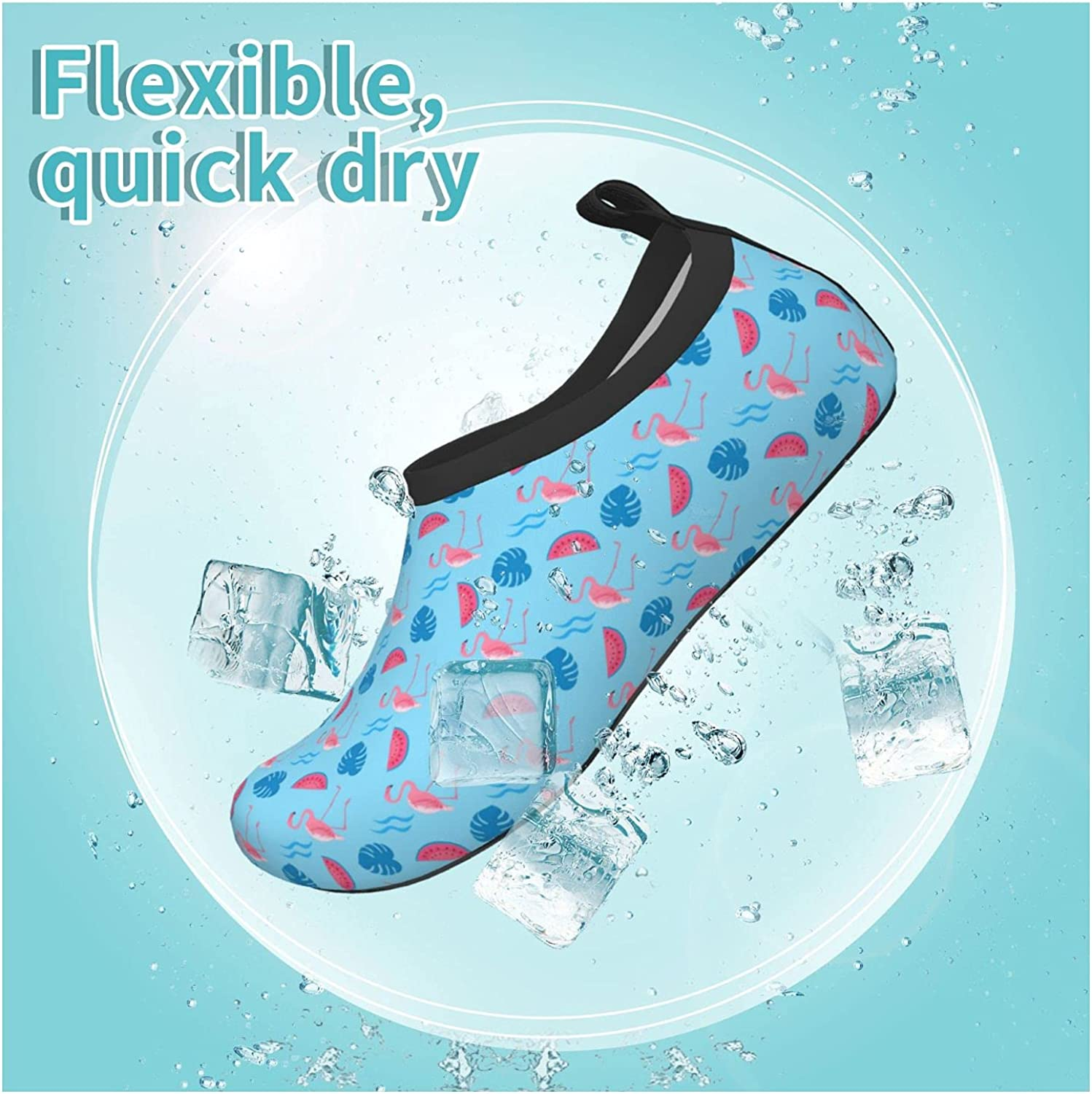 Jedenkuku Watermelon Flamingo Pink Fruit Melon Children's Water Shoes Feel Barefoot for Swimming Beach Boating Surfing Yoga