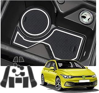 RUIYA Golf 8 mk8 2020 Antirutschmatten Gummimatte Auto Innere für Mittelkonsole Aus hochwertigem Latex Geeignet (Weiß)
