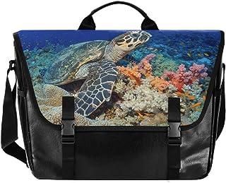 Colorido animal tortuga coral lona, bolso de hombro unisex de 15,6 pulgadas, bolsa de hombro, bolso de mano