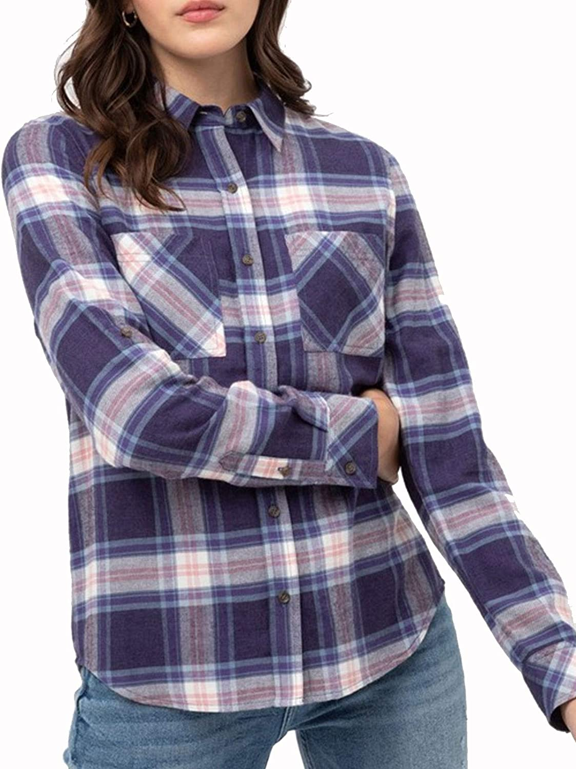 Design by Olivia Womens Checkered Plaid Roll Up Sleeve Stretch Knit Button Down Shirt