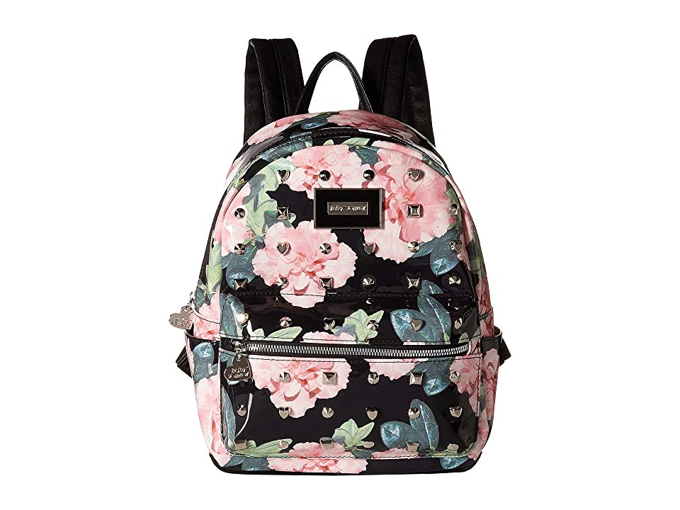 Betsey Johnson Printed Backpack (Black Floral) Backpack Bags