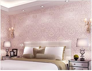 GLOW4U Removable Peel and Stick Pink Damask Wallpaper Mural Roll Prepasted Self Adhesive Non-Woven Fabric Home Decor Wall Paper