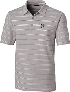 Cutter & Buck NCAA Northwestern Wildcats Mens Short Sleeve Heather Stripe Forge Polo, Polished, Medium