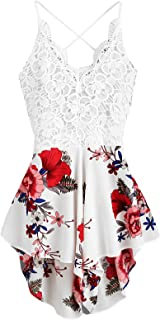 Women's Boho Crochet V Neck Halter Backless Floral Lace Romper Jumpsuit
